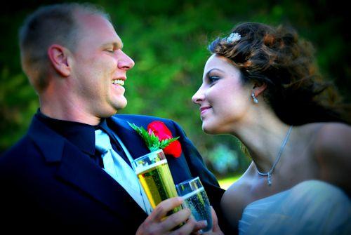 Couple celebrates after wedding at Cavender Castle